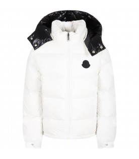 """White """"Ercan"""" jacket for boy with black logo"""