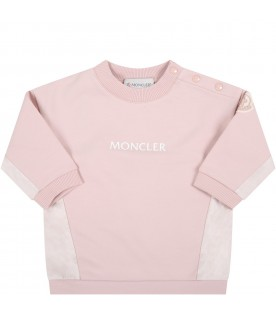 Pink suit for baby girl with white logo