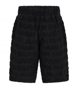 Black short for kids with logos
