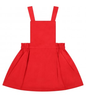 Red overalls for baby girl
