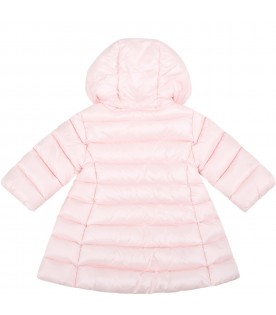 """Pink """"Majeure"""" jacket for baby girl with logo patch"""