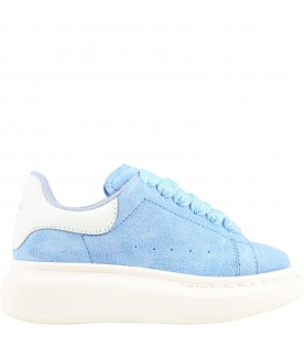 Light blue sneakers for kids with logo