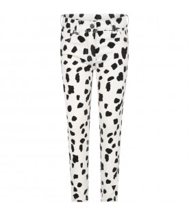 White Jeans for girl with Dalmatian print