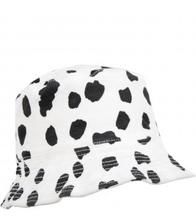 White bucket hat for kids with dalmatian print