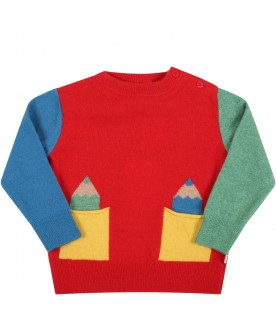 Multicolor sweater for kids with pencils