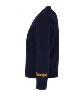 Blue sweater for boy with shoe