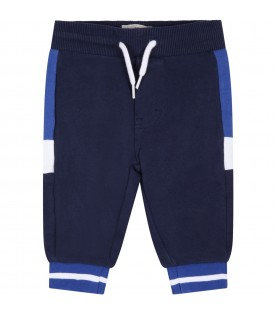 Blue sweatpant for baby boy with logo