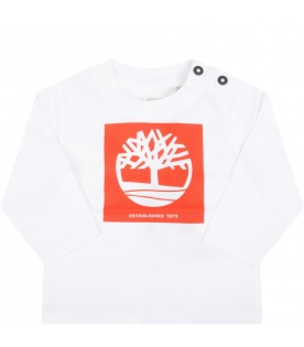 White t-shirt for baby boy with tree