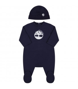Blue set for baby boy with tree