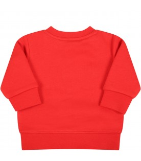 Red sweatshirt for baby boy with blue logo