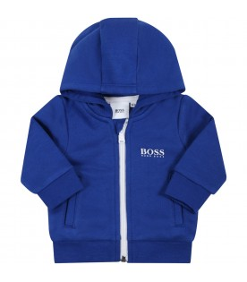 Blue suit for baby boy with white logo