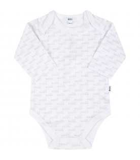 White body for baby boy with logos
