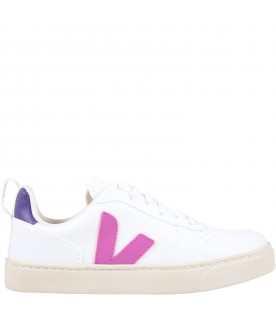 White sneakers for girl with purple logo