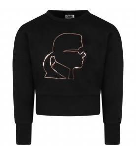 Black T-shirt for girl with Karl Lagerfeld profile