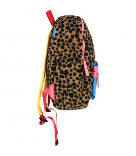 Brown backpack for girl with pink logo