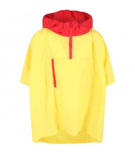 Yellow raincoat for kids with light-blue logo