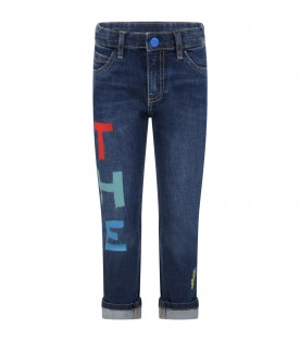 Blue jeans for kids with logos