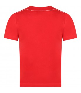 Red T-shirt for kids with multicolor logo