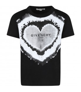 Black t-shirt for girl with heart