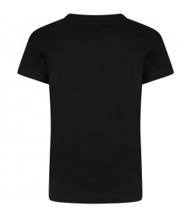 Black t-shirt for kids with colorful logo