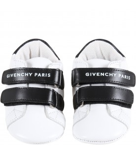 White sneakers for aby kids with logo