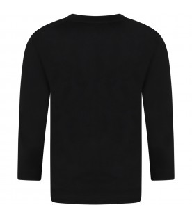 Black t-shirt for boy with multicolor logo