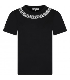 Black t-shirt for kids with chain
