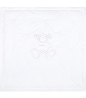 White blanket for baby kids with bear
