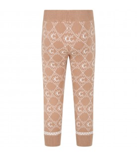Brown trousers for girl with logo