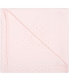 Pink blanket for baby girl with logo