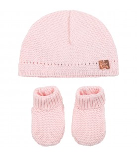 Pink set for baby girl with logo