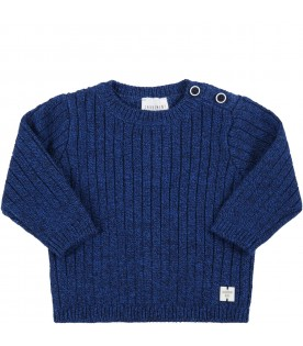 Blue sweater for baby boy with patch logo