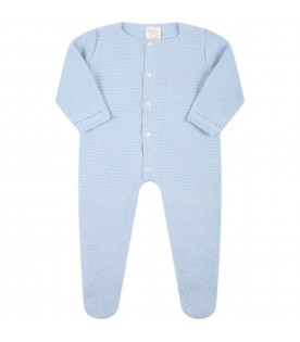 Light-blue jumpsuit for baby boy with logo