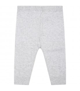 Gray trousers for baby boy with logo