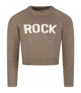 Green sweater for kids with Rock writing