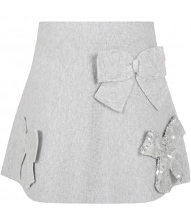 Grey skirt for girl with bows