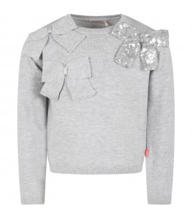 Grey sweater for girl with bows