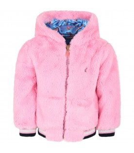 Pink faux fur for girl with logo