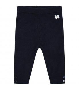Blue trousers for baby boy with logo