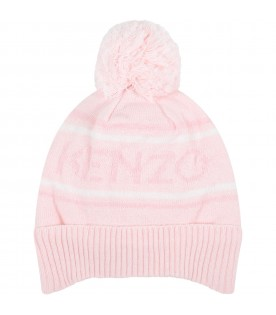 Pink hat for baby girl with logo