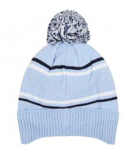 Light blue hat for baby boy with logo