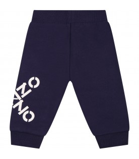 Blue sweatpant for baby kids with logos