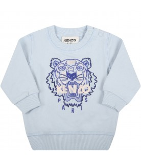 Light blue sweatshirt for baby boy with iconic tiger