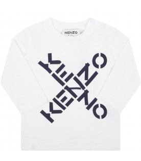 White t-shirt for baby kids with logos