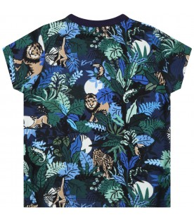 Blue t-shirt for baby boy with colorful prints
