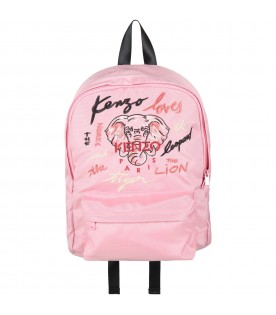 Pink backpack for girl with elephant