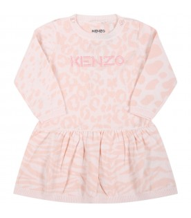 Pink dress for baby girl with logo