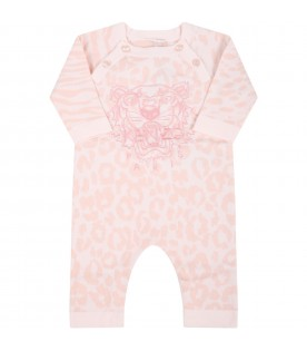 Pink babygrow for baby girl with iconic tiger