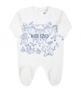 White babygrow for baby boy with elephant