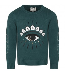 Green sweater for kids with eye